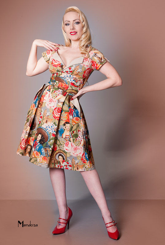Victory Parade Classic vintage occasional dress with pockets and pleated skirt